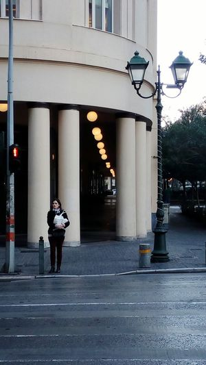 Athens Athens, Greece Mobilephotography Streetphotography Light And Shadow Early Morning Woman waiting Zebra Crossing in front of Old Building  Row Of Things Lights High Contrast Mobile Photography