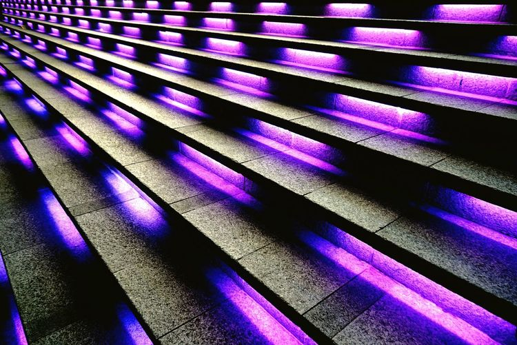 Staircase Christmas Lights purple CreativePhotographer perspective Revisited
