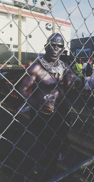 African American Blackboymagic Carnival Miami African Beauty Reggae♥ Security System Protection Chainlink Fence Close-up