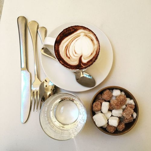 Food And Drink Directly Above High Angle View Spoon Coffee Cup Food Freshness Coffee - Drink Drink Table Nopi First Eyeem Photo Milk Plate Sweet Food No People Cappuccino Healthy Eating Froth Art Frothy Drink Indoors  First Eyeem Photo