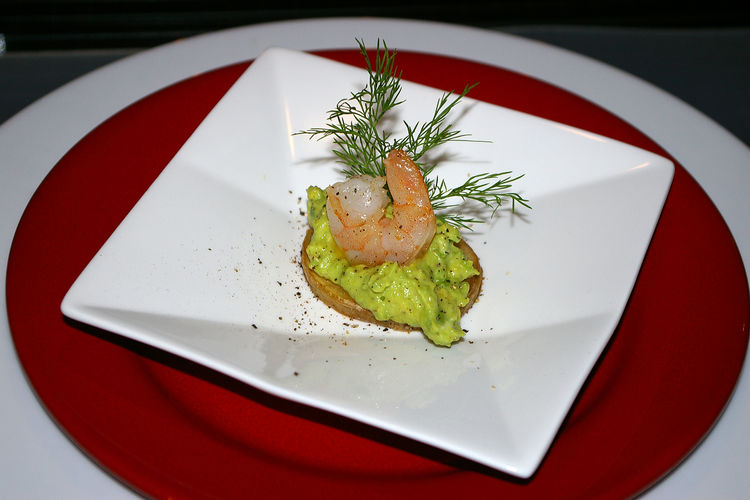 Small homemade appetizer dish with a shrimp on a potato slice with avocado mousse and dill Food Food And Drink Plate Ready-to-eat Freshness Healthy Eating Wellbeing Indoors  Serving Size Table Vegetable Red Close-up Still Life No People Herb Seafood Garnish High Angle View Restaurant Temptation Appetizer Homemade Avocado Mousse Shrimp