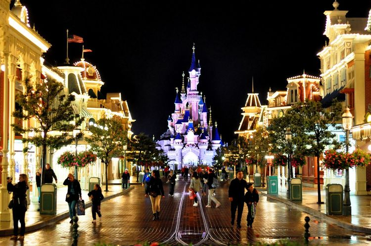 The place where all your childhood dreams become truth Disney Disneyland Paris Disney World Sleeping Beauty Castle Childhood Dream Amazing Place Night View Main Street USA Castle Fantasy World Fantasy Likeforlike Followme Wonderful Idea Forever Child My Dream Famous Place Beauty Night Lights Paris France Joy Happy Time