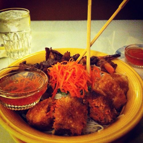 Vermicelli Bowl w/ Shrimp, Pork, and Imperial Rolls #foodie #love #fatboystatus #photooftheday