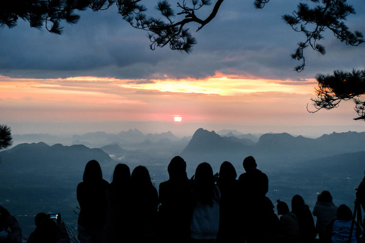 Cloud - Sky Group Of People Mountain Real People Sky Sunset