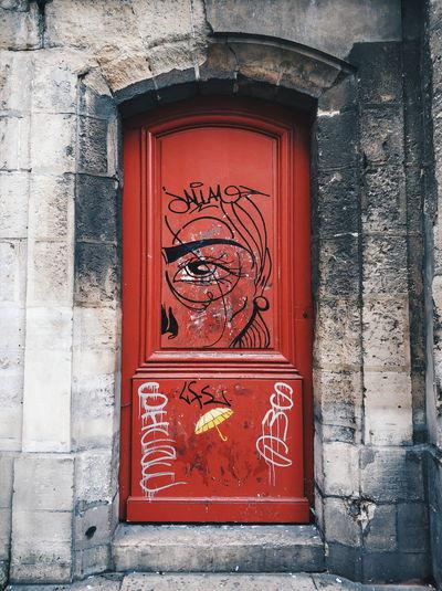 Red door with