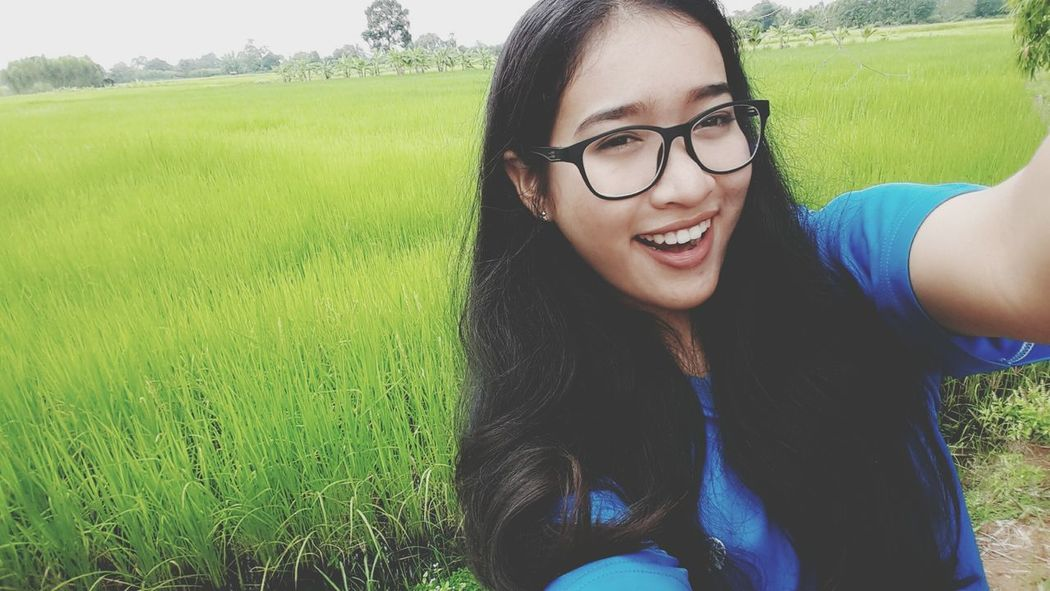 Eyeglasses  Green Color Happiness Country Countrylife Beauty In Nature Nature_ Collection  Portrait Myland  Nature Country Living Rice Field Sky