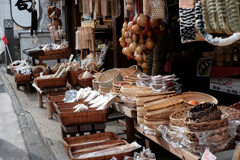 Objects at display on street market stall
