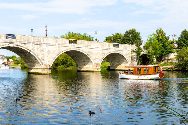 View of arch bridge over river