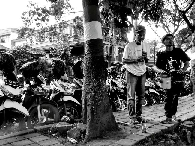 In the Lonely Tree Full Length Outdoors Adult People Humaninterestphotography Black And White Humaninterestindonesia Methaphor Human Representation Landscape Musical Instrument Musicphotography Streetmusician Streetphotography Streetphotography_bw