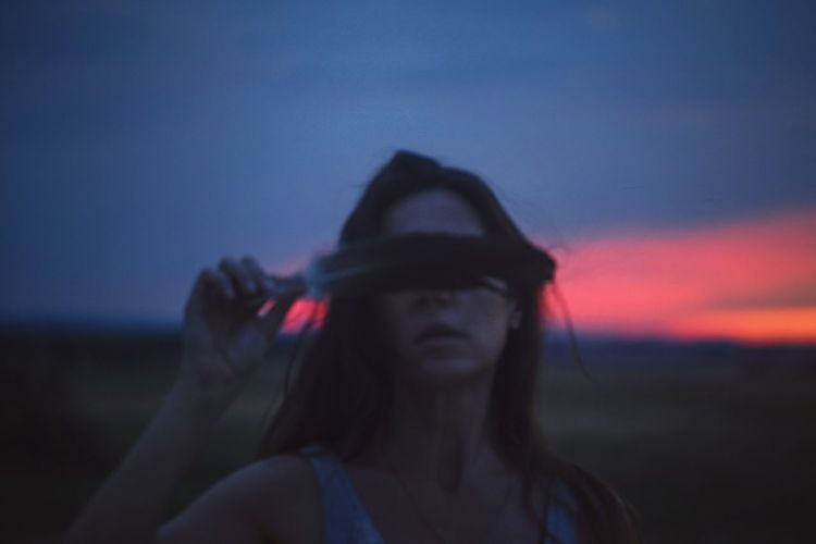 Blue Sky Blue Hour Blue Light Red Red Color Pink Color Pink Woman Portrait Dark darkness and light Darkness