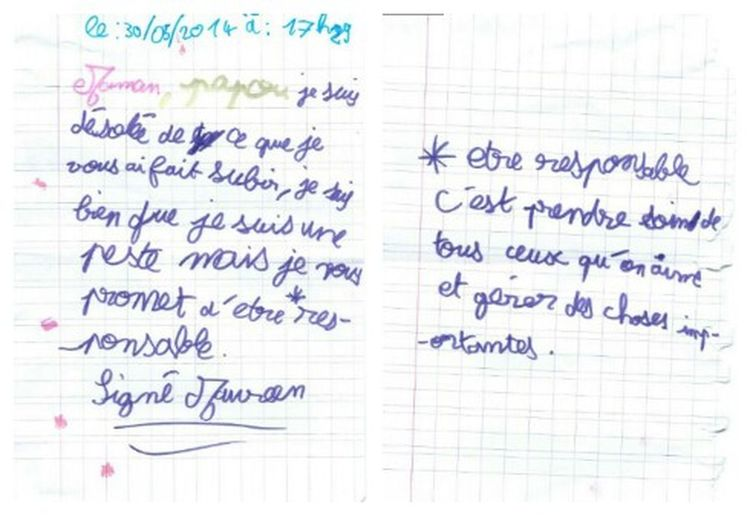 """""""Mom, Papou, I'm sorry that I made you suffer. I know I'm a devil, but I promise to be responsibleissant (*). signed: Maureen. (*) To be responsible is to take care of the people we love and manage important things"""". La Lettre The Letter Heartbeat Moments Isn't She Lovely?"""