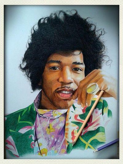 Check This Out Hello World Art Portrait jimi Hendrix colour pencil portrait
