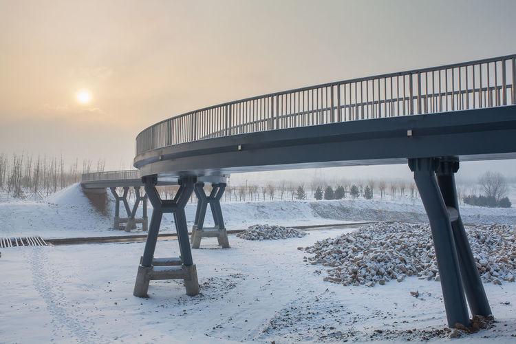 Sea Cold Temperature Winter Beach Water Bridge - Man Made Structure Sky Architecture Built Structure