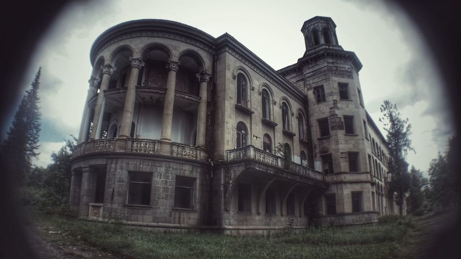 Abandoned Soviet Sanatorium in Georgia Hdroftheday Hdrspotters Capture Abandoned Places Abandoned Buildings Architecture Built Structure Low Angle View Building Exterior Travel Destinations History Day Sky Outdoors No People