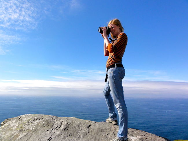 Balance Blond Women Blue Sky Cahersiveen  Carefree Enjoying Life Focus Great Views Ireland Long View North Atlantic Ocean Photographer Real People Standing On A Rock Standing On The Top Of The World Taking Photos The Tourist
