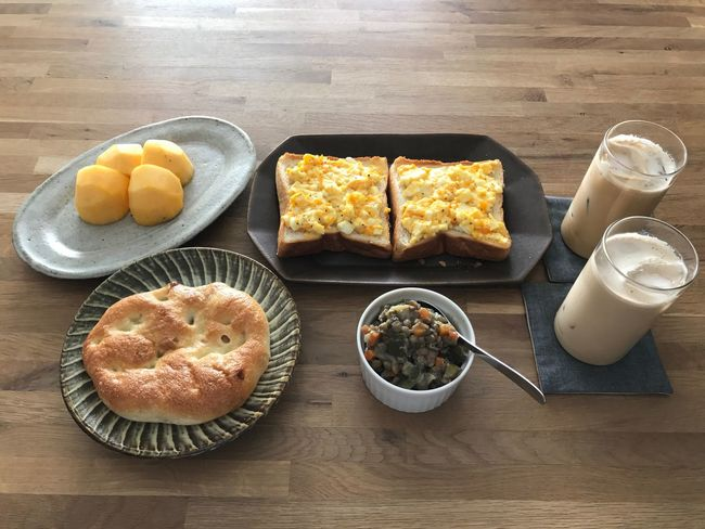 Today's breakfast. We love egg dishes. Food And Drink Food Freshness Table Ready-to-eat Healthy Eating Breakfast Wood - Material No People Indoors  Horizontal Day Breakfast Egg Porcelain  Photography EyeEm Drink