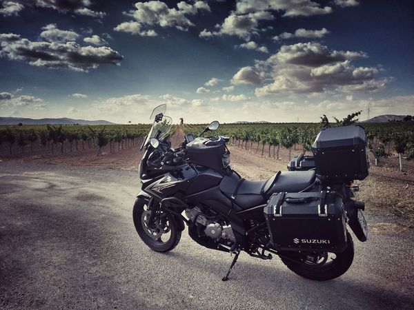 Suzuki Vstrom On The Road Motorcycle Taking Photos Landscape