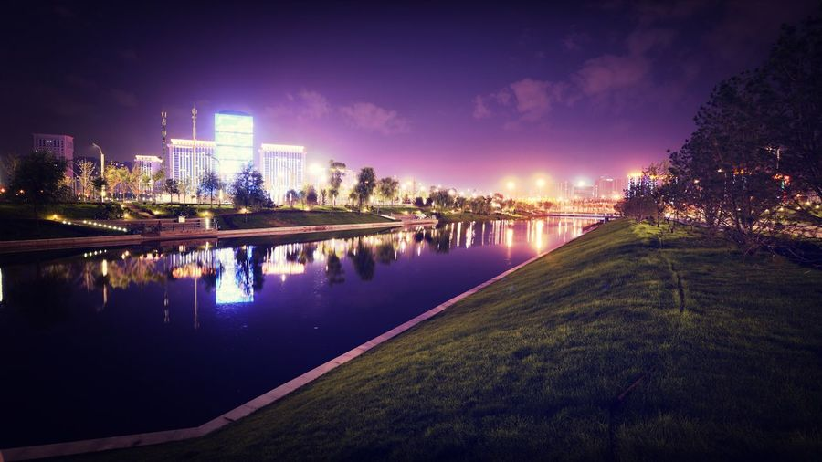 View of city from riverbank