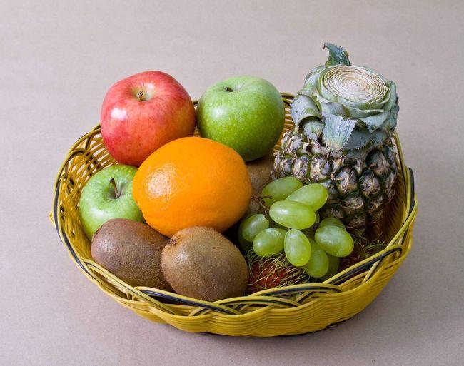 Fruit basket Basket Healthy Eating Fruit Freshness Food And Drink Food Variation Apple - Fruit No People Studio Shot Gray Background Large Group Of Objects Indoors  Close-up Day