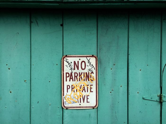 Close-up of no parking sign
