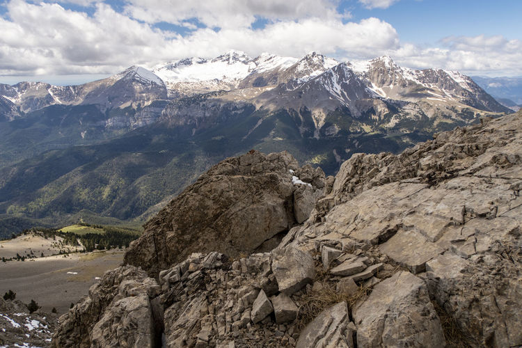 Scenic view of rocky mountains against sky