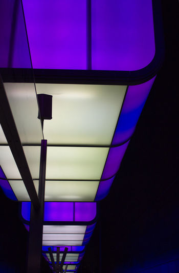 Illuminated Indoors  Lighting Equipment Low Angle View No People Architecture Built Structure Glass - Material Night Purple Glowing Light Electric Light Pattern Ceiling Multi Colored Electric Lamp Close-up Blue Design Electricity  Underground Underground Station
