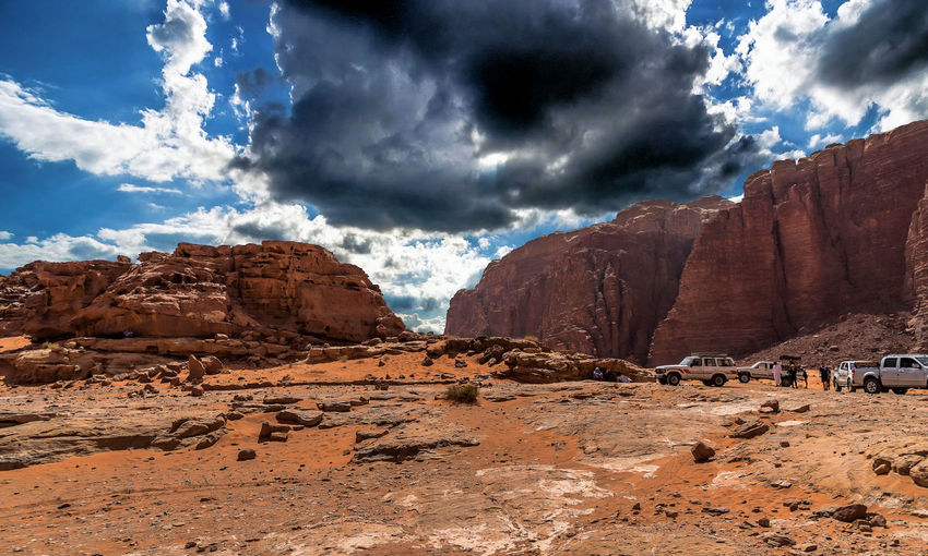 View Of Rock Formations In Desert Against Cloudy Sky