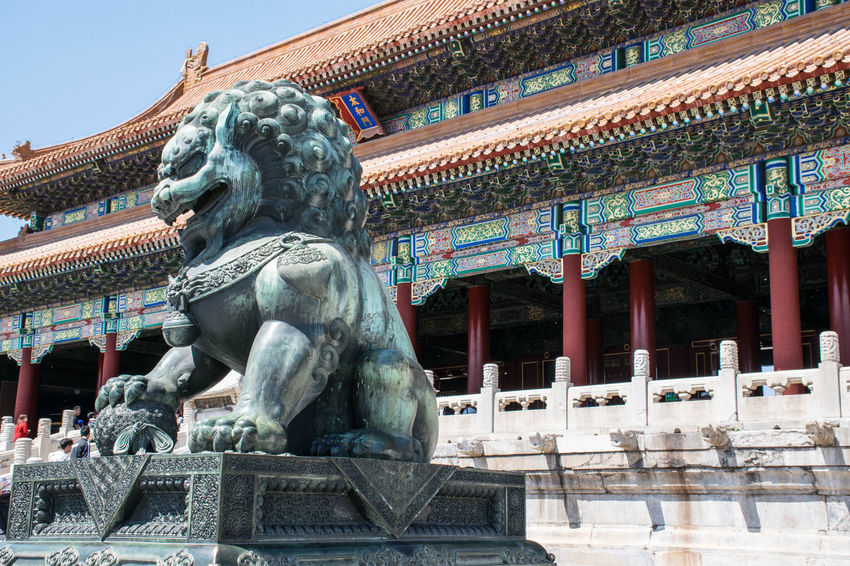 hanging out in China Beijing Connected By Travel Forbidden City Lion China Culture History Sculpture Statue Travel Destinations Be. Ready.