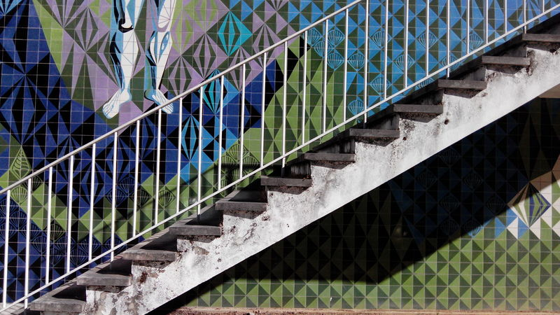 Architecture Built Structure Steps Steps And Staircases Day Outdoors No People Multi Colored Building Story Portuguese Culture Portuguese Architecture Urban Art Urban Exploration Urban Urbanphotography Azulejos Stairsporn Stairs To Heaven Stairporn Stairs Exterior City Stairway Creativity Modern