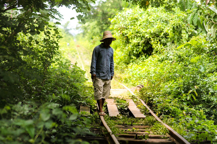 Walking On The Railway Old Railway Bamboo Train Cambodia Battambang, Cambodia Solitary Figure Alone In The Middle Of The Nowhere Lost In The Green Lost In Nature Rear View Tree One Person Casual Clothing Day Walking Outdoors Full Length Real People Adult People Nature Men Adults Only One Man Only Growth Neon Life