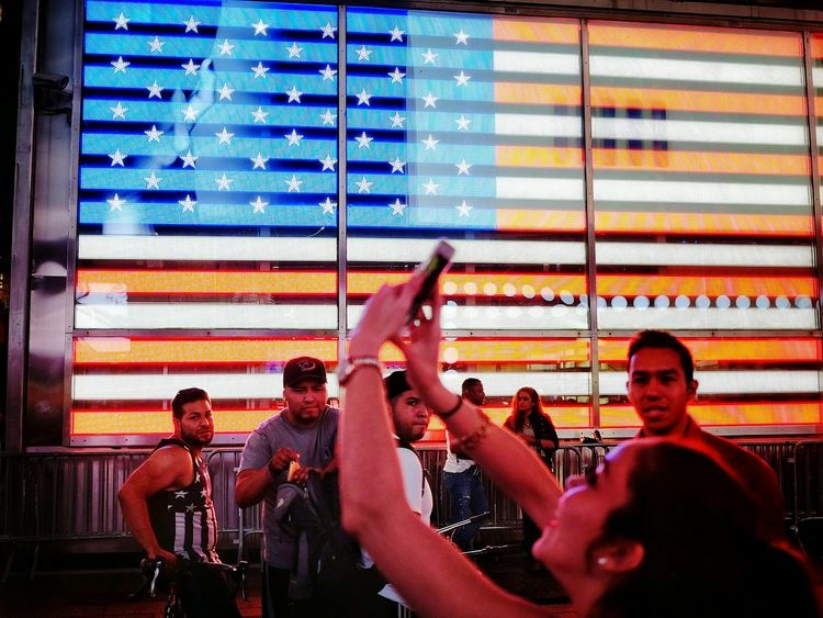 Contact Sheet Working A Scene Portrait Of America Times Square NYC American Flag EyeEm In NYC 2015 Night Photography Taking Pictures EyeEm Best Shots New York City My Best Photo 2015 Outsiderin Real People