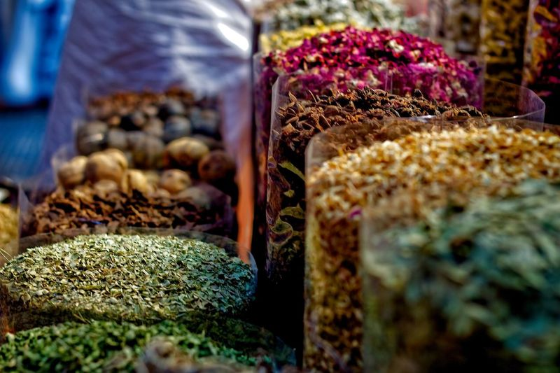 Close-up of spices for sale at market