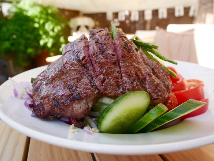 Steak and Salad Food Steak And Salad Steak Food Food And Drink Ready-to-eat Freshness Healthy Eating Plate Table Meat Close-up No People Focus On Foreground Barbecue Grilled Roasted Meal Serving Size