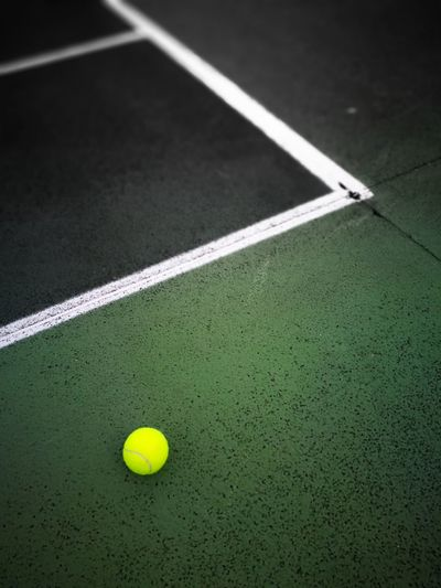 Visual Feast Tennis ball Sport Tennis Ball Tennis Sports Equipment Green Color Dividing Line Yellow Court Racket Sport Outdoors Leisure Activity No People Close-up Day