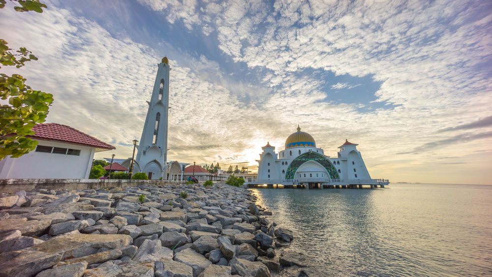 Dramatic Sunrise at Malacca Straits Floating Mosque Architecture Building Exterior Built Structure Coastline Communications Tower Dawn Dome Famous Place Floating International Landmark Islam Mosque Muslim Religion Spire  Sunrise Tower Worship