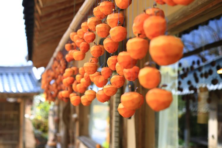 Orange fruits hanging from for sale at street market