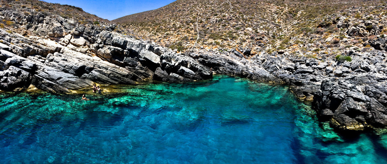 Beauty In Nature Blue Day Greece Idyllic Landscape Mountain Nature No People Outdoors Remote Rock - Object Scenics Sea Sky Tranquil Scene Tranquility Vacations Water