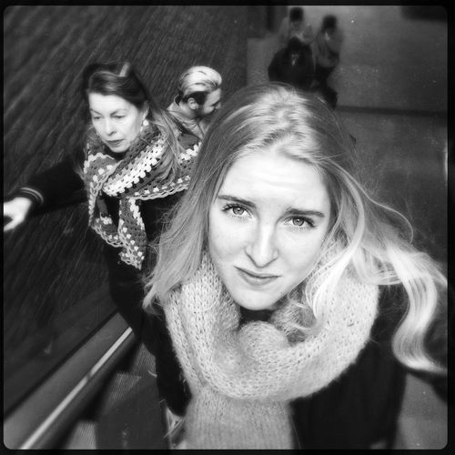 Daughter Blackandwhite Photography Young Women Young Adult Real People Portrait Looking At Camera Long Hair Girls Blackandwhite Close Up Street Photography Streetphoto_bw Hipstamatic