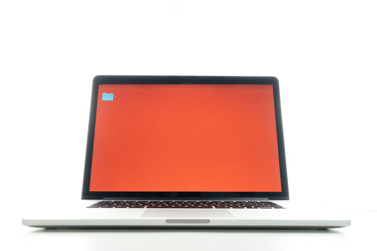 Close-up of laptop on white background