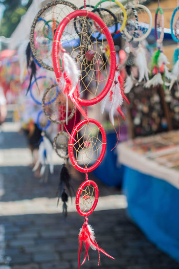 Close-Up Of Dreamcatchers Hanging At Store