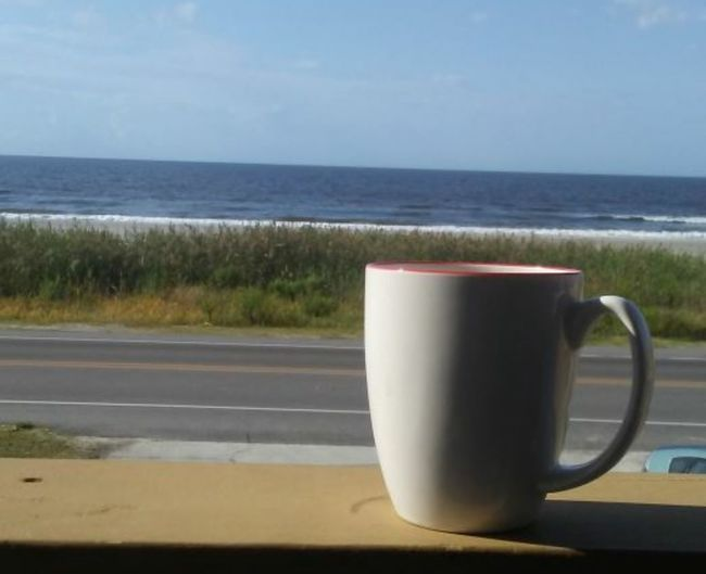 2 of my favorite things. Coffee and the beach. 😃 Ocean Oakislandnc Sand Mug Relaxing Oki Coffee Sea Water Beach Coffee - Drink Coffee Break Coffee Cup