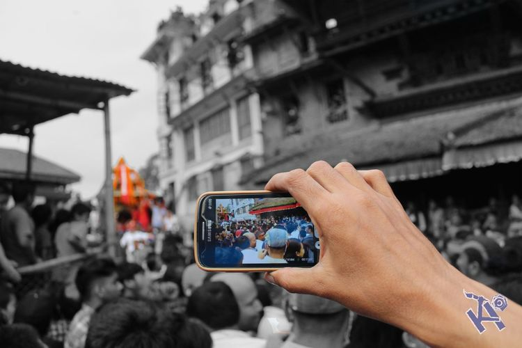 we do not capture the photos but we capture the soul of the moments Capturing The Moment IndraJatra Mobile Phone Photoshop Edit Body Part Culture And Tradition Electronic Device Festival Hand Kodorins_photography Living Godess Kumari Of Nepal