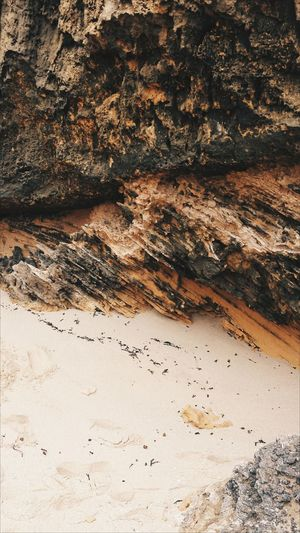 High angle view of rock formation at beach