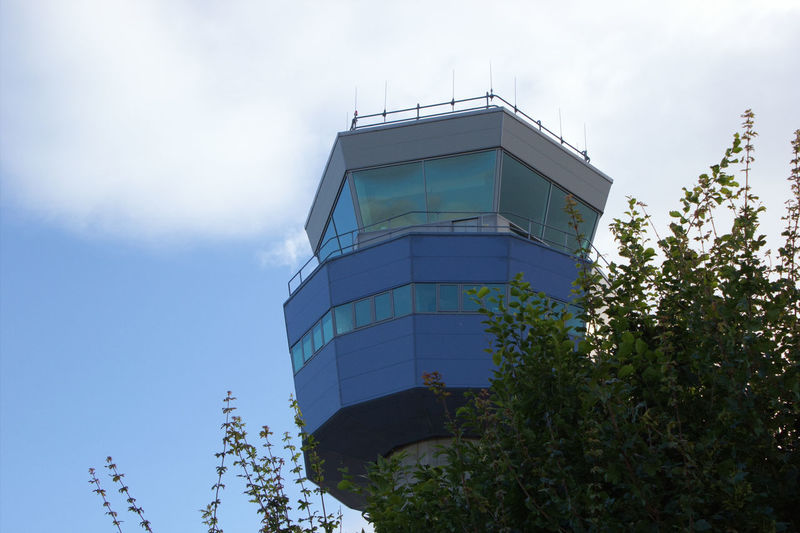 Air Traffic Control Tower Blue Sky And Clouds Tree Travel Photography Airport Man-made Structure