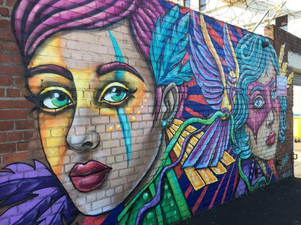 Street Art Multi Colored Portrait Creativity Art And Craft Headshot Close-up One Person