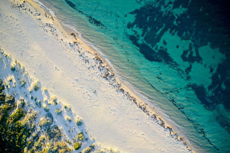 Drone field of view of footprints in the sand in western australia