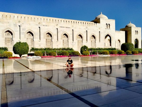 Building Exterior Architecture Outdoors Adult Muscat , Oman Muscat Mosque Reflections Pavement Seating The City Light