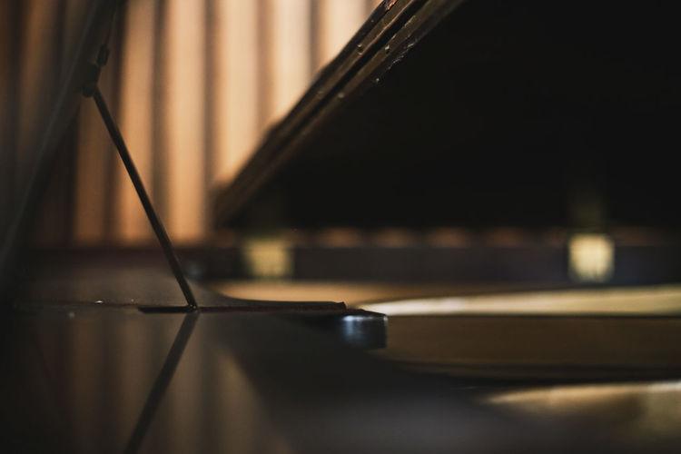 Close-up of piano at recording studio