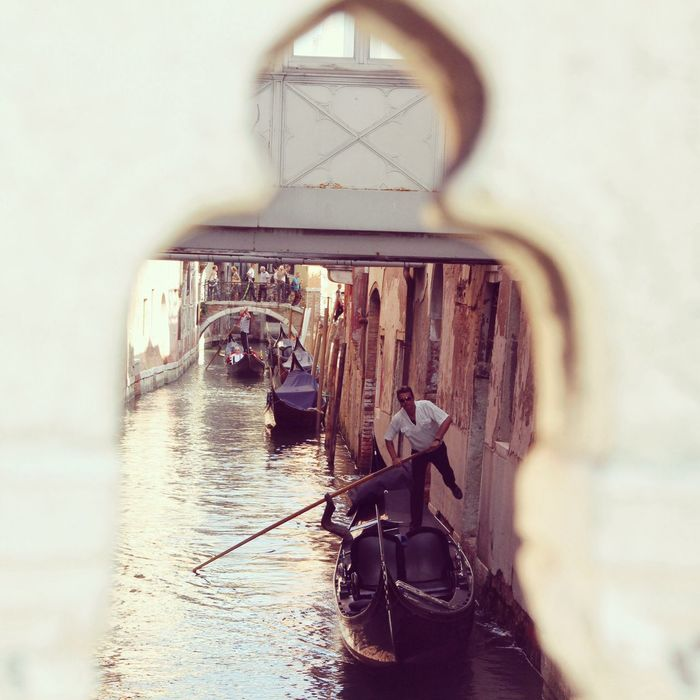 Gondolier at work in venice