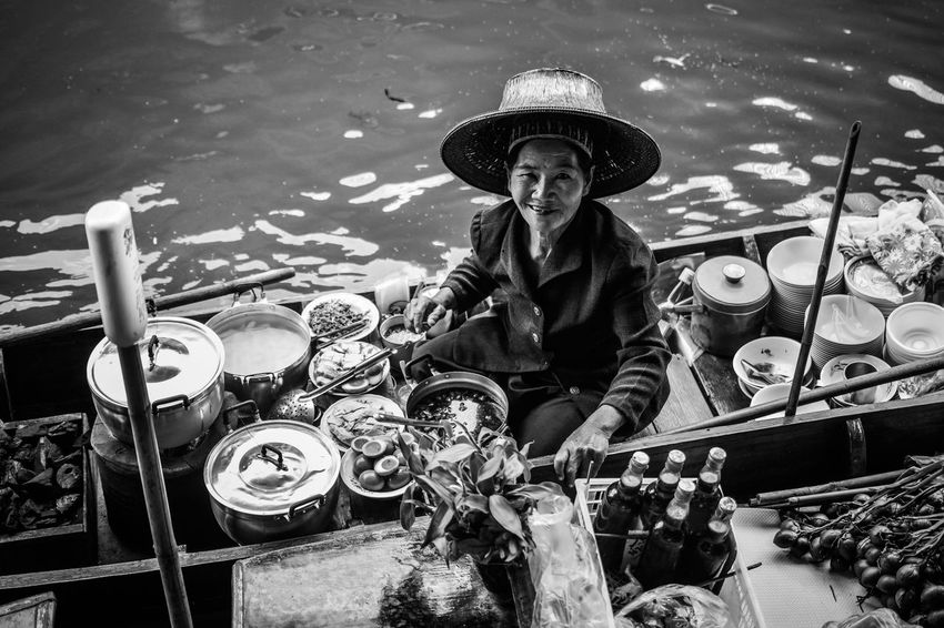 Floating market Bangkok Portrait Of A Woman Arts Culture And Entertainment Black And White Day Drummer Floating Market Floating Market Dumnoen Saduak Floating On Water Music Musical Instrument Musician One Person Outdoors People Playing Portrait Real People Sitting Women Around The World Black And White Friday
